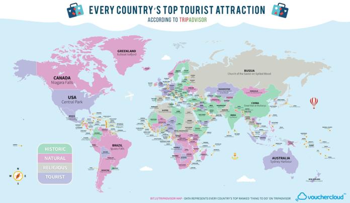 Mapa con las atracciones más visitadas del mundo